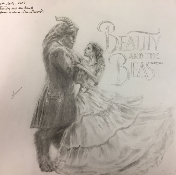 Incredible Beauty And The Beast Pencil Drawing Courses Beauty And The Beast 2017 (Emma Watson And Dan Stevens) - Drawing Photo
