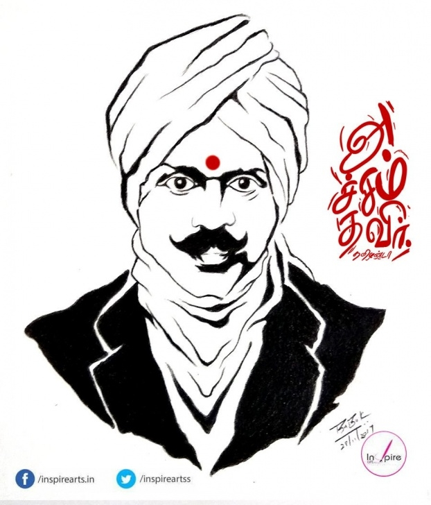 Bharathiyar Pencil Drawing