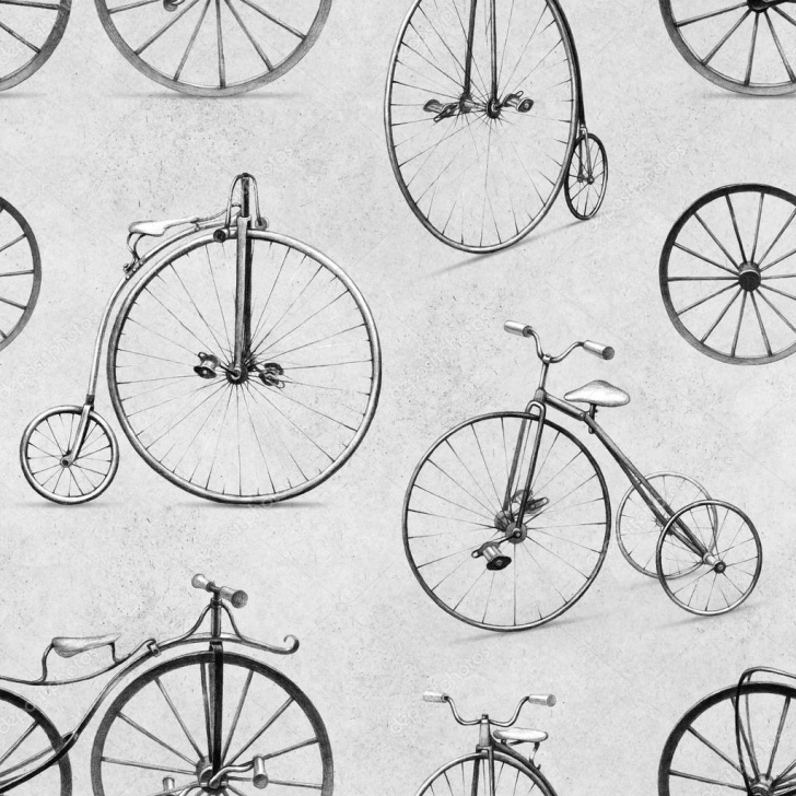 Incredible Bicycle Pencil Drawing Step by Step Photo: Bike Drawing | Pencil Drawing Of Retro Bicycle. Seamless Image