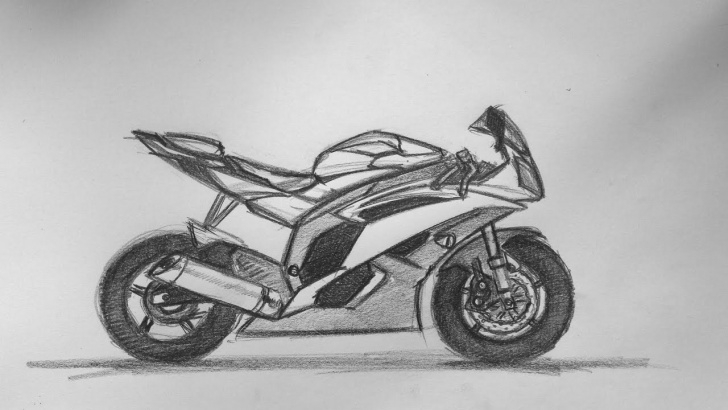 Incredible Bike Pencil Drawing Step by Step Yamaha Motorbike Sketch 08.08.2015 Images