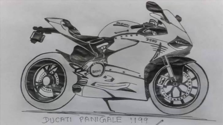 Incredible Bike Pencil Sketch Tutorials Ducati Panigale 1199 Bike Drawing | Pen Sketch Image