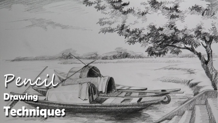 Incredible Boat Pencil Sketch Free Pencil Drawing Tutorial | How To Draw Boats & A Riverside Landscape Photo