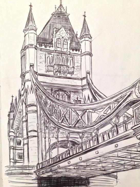 Incredible Bridge Pencil Drawing Courses Tower Bridge Sketch | Draw In 2019 | London Drawing, Pencil Drawings Image
