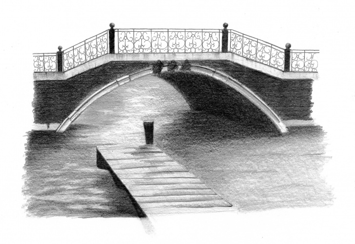 Incredible Bridge Pencil Drawing Lessons Pencil Sketch Bridge - Under Town Picture
