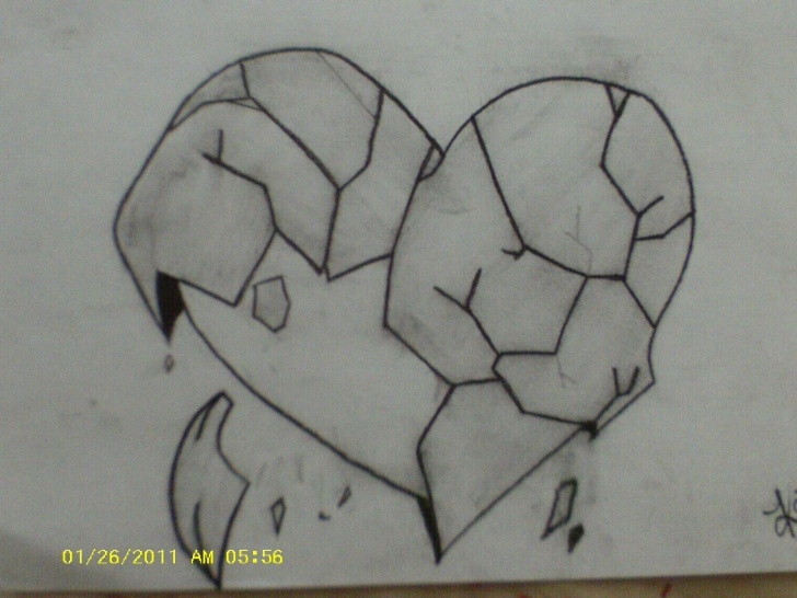 Broken Heart Pencil Sketch