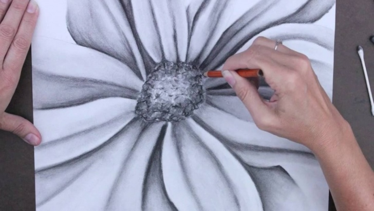 Incredible Charcoal Flower Drawings Simple Charcoal Flower Drawing Images