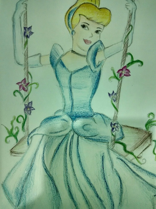 Incredible Cinderella Pencil Drawing Step by Step Cinderella On The Swing!| Colour Pencil Sketch Cinderella Drawing Pic