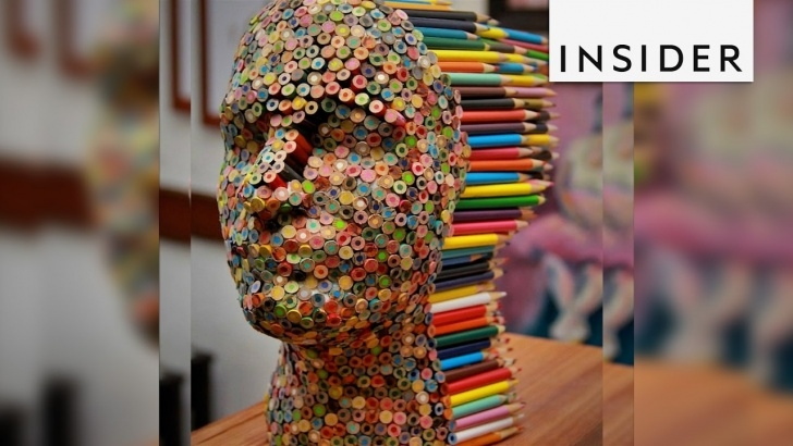 Incredible Colored Pencil Carving Free An Artist Created A Sculpture Made Of Glue And 500 Colored Pencils Photo