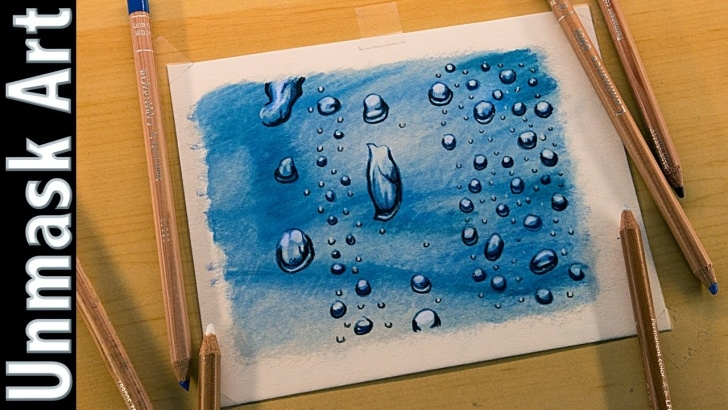 Incredible Colored Pencil Water for Beginners Water Droplets | Colored Pencil Drawing Time Lapse Images
