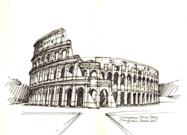 Incredible Colosseum Pencil Sketch for Beginners Colosseum, Rome, Italy / Sketch By Joungyeon, Bahk (Grid-A Photo