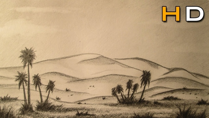 Incredible Desert Pencil Drawing Courses How To Draw A Desert Landscape With Pencil Step By Step - Timelapse Pictures