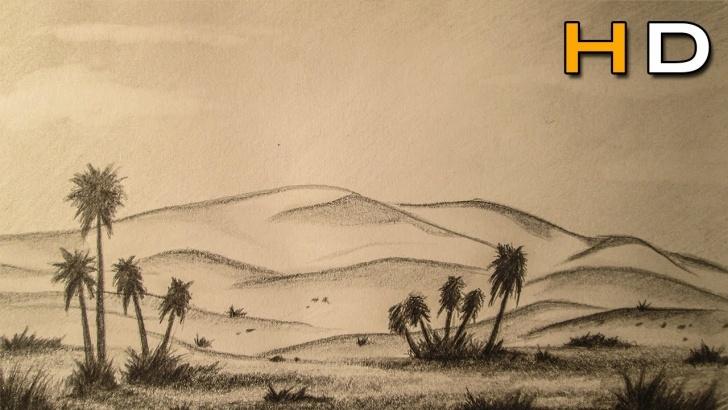 Desert Pencil Drawing