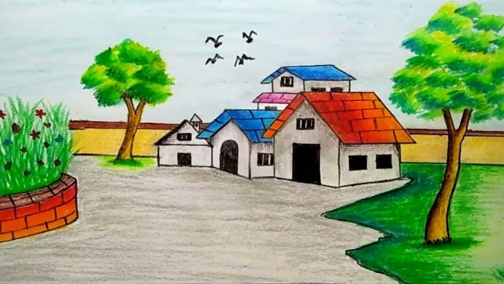 Incredible Drawing Images Village Tutorial How To Draw Village Scenery (Landscape Scene Drawing Tutorial Photo