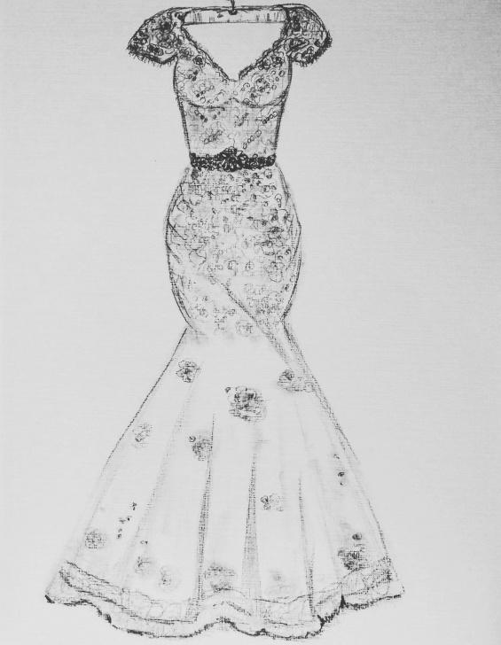 Incredible Dress Pencil Drawing Ideas Original Drawing, Custom Order Dress Drawing, Pencil Drawing Pic