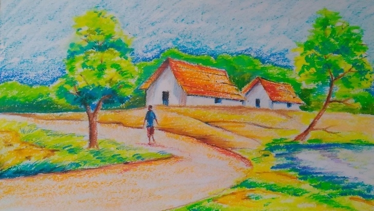 Incredible Easy Landscape Drawing For Beginners for Beginners Village Landscape:easy Drawing Tutorial For Kids | Oil Pastels Pictures