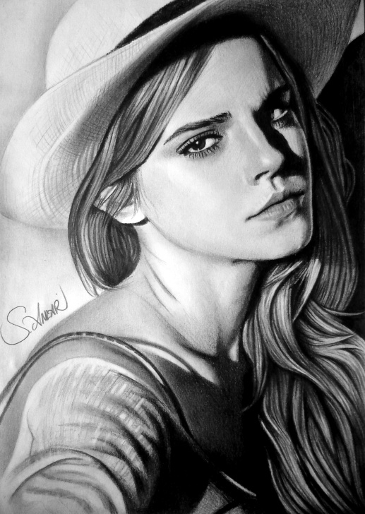 Incredible Emma Watson Pencil Sketch for Beginners Emma Watson Drawing, Pencil, Sketch, Colorful, Realistic Art Images Picture