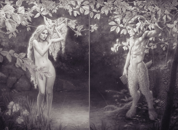 Incredible Fantasy Pencil Drawings Simple Nymph And Fawn - Pencil Drawing Fantasy Art : Illustration Photo