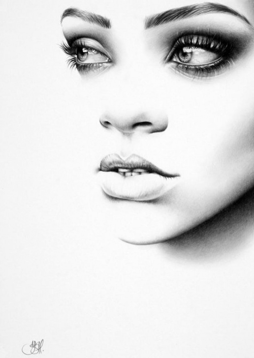 Incredible Fine Pencil Art Step by Step Rihanna Original Pencil Drawing Minimalism Fine Art Portrait Image