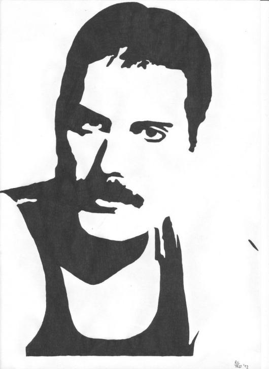 Incredible Freddie Mercury Stencil Art Step by Step Here's A Little Stencil Of Freddie! Freddie Mercury | Freddie Pic