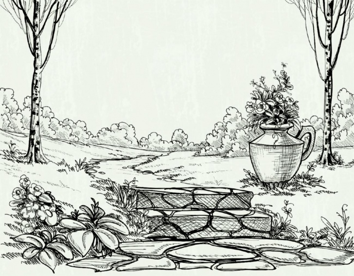 Incredible Garden Pencil Drawing Free Flower Garden Sketch At Paintingvalley | Explore Collection Of Picture