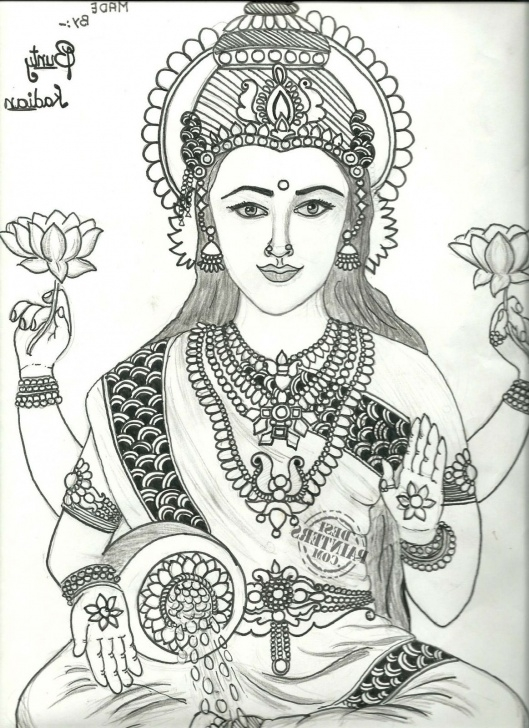 Goddess Lakshmi Pencil Sketches