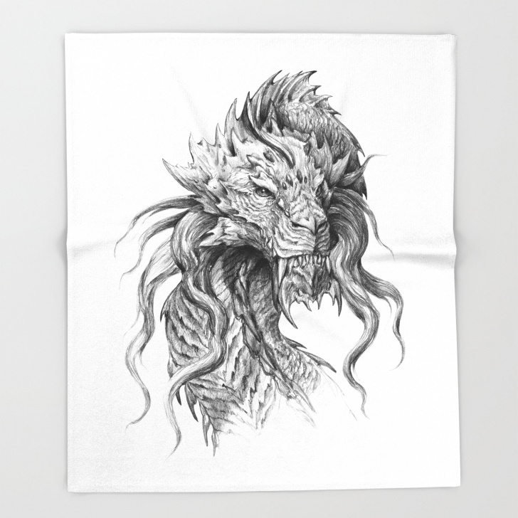 Incredible Graphite Pencil Art Free Dark Side Japanese Dragon Portrait | Graphite Pencil Art Throw Blanket Pictures