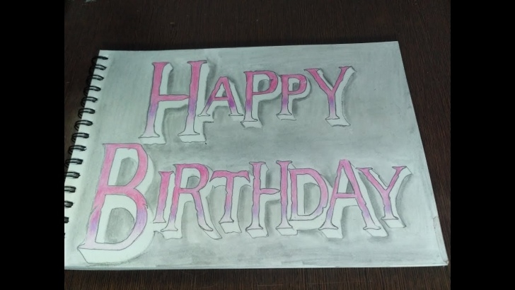 Incredible Happy Birthday Pencil Drawing Simple How To Draw Happy Birthday Colorful Pencil Name Drawing Images