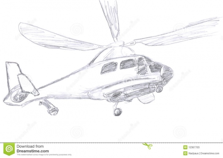 Incredible Helicopter Pencil Drawing Free Helicopter Sketch Stock Illustration. Illustration Of Drawing - 12367703 Photos