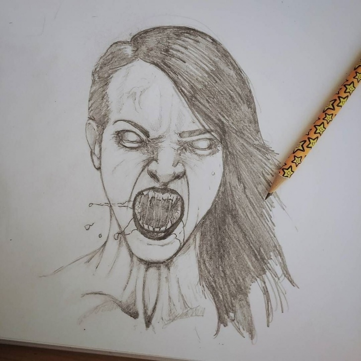 Incredible Horror Pencil Sketches Tutorials She Just Wants To Nibble Your Neck A Bit #art #horror #face Photos