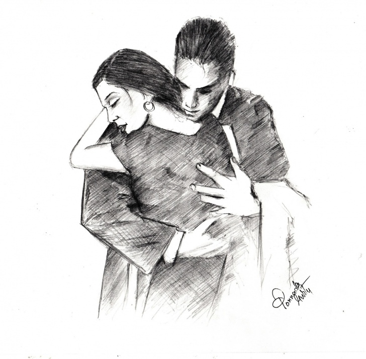 Incredible Hug Pencil Sketch Step by Step Sketches And Drawings : The Hug - Pencil Sketch Image