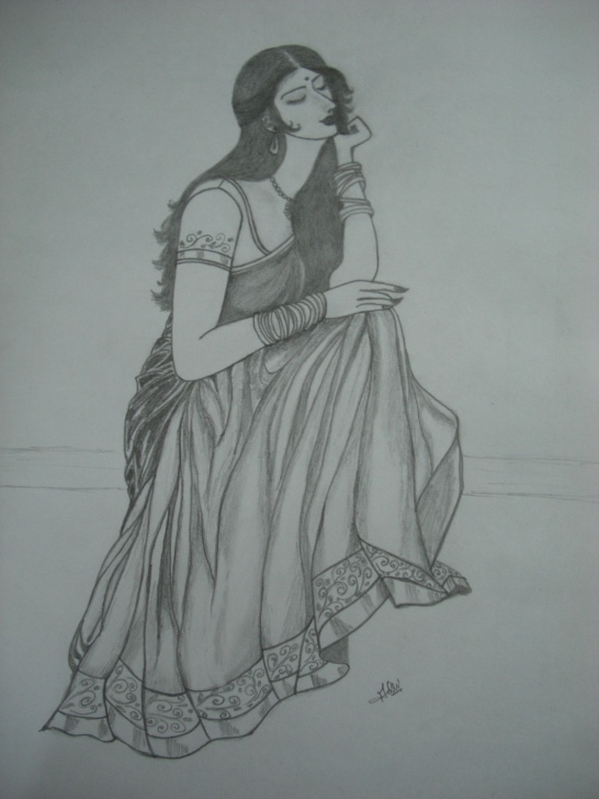 Incredible Lady Pencil Sketch Free Beautiful Lady Pencil Sketch | Desipainters Pic