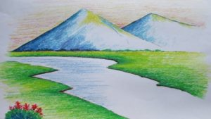 Incredible Landscape Drawing For Beginners Easy Beginners Mountain Landscape Drawing With Oil Pastel Picture