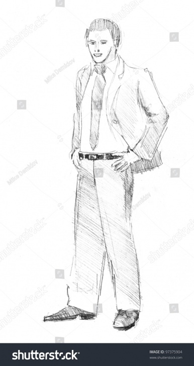 Incredible Man Pencil Drawing Lessons Pencil Drawing Young Business Man Stock Illustration 97375904 Pic