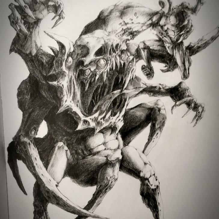Incredible Monster Pencil Drawing Tutorial Oc Monster #1: Mechanical Pencil : Drawing Picture