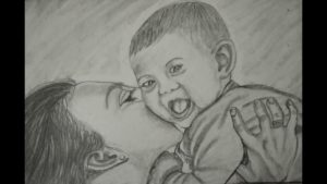 Incredible Mother And Child Pencil Drawing Tutorial Pencil Art Of Mother And Baby Image