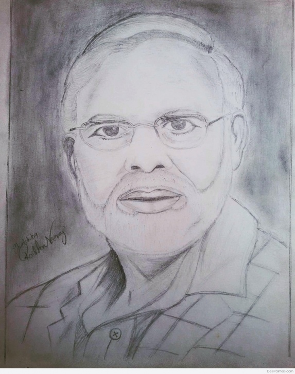 Incredible Narendra Modi Pencil Sketch Simple Pencil Sketch Of Prime Minister Narendra Modi | Desipainters Photos