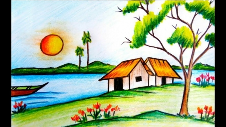 Incredible Nature Drawing With Pencil Colour Simple Colored Pencil Drawings Scenery Colour Pencil Drawing Of Scenery Images