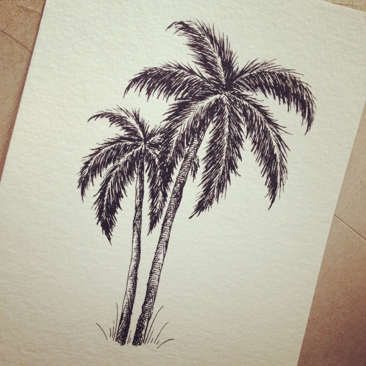 Incredible Palm Tree Pencil Drawing Simple Pen And #ink Palm Tree Drawing For #wedding #invitation | Chelsea Picture