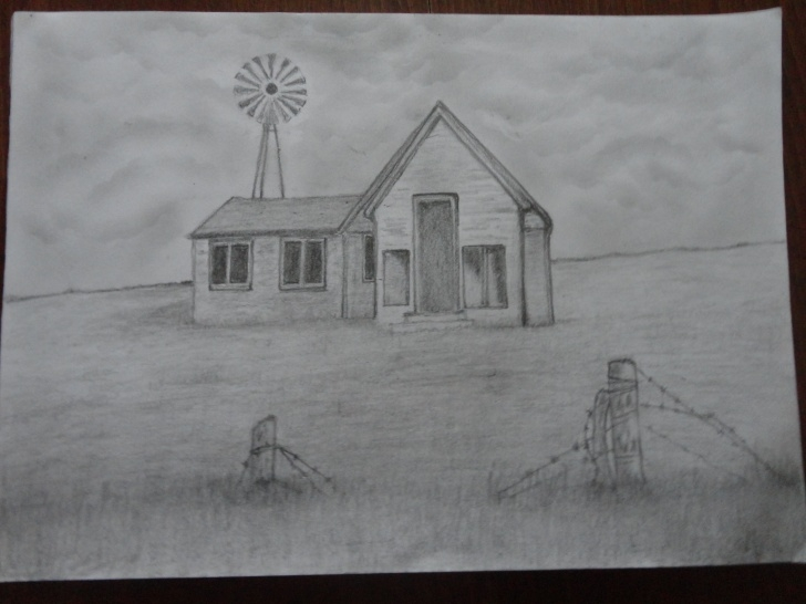 Incredible Pencil Art House Courses Pencil Drawing Of A Old Derelict Farm House — Steemit Pic