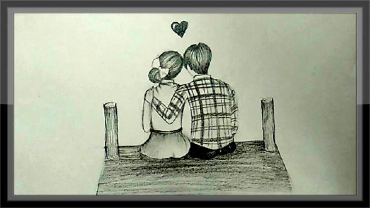 Incredible Pencil Couple Sketch Easy Cute Love Drawings Of Romantic Couple In Pencil Pencil Image