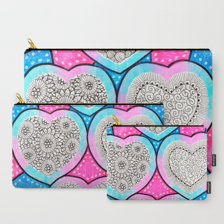 Incredible Pencil Doodle Art Techniques Colored Pencil Doodle Art | Doodle Hearts Carry-All Pouch Picture