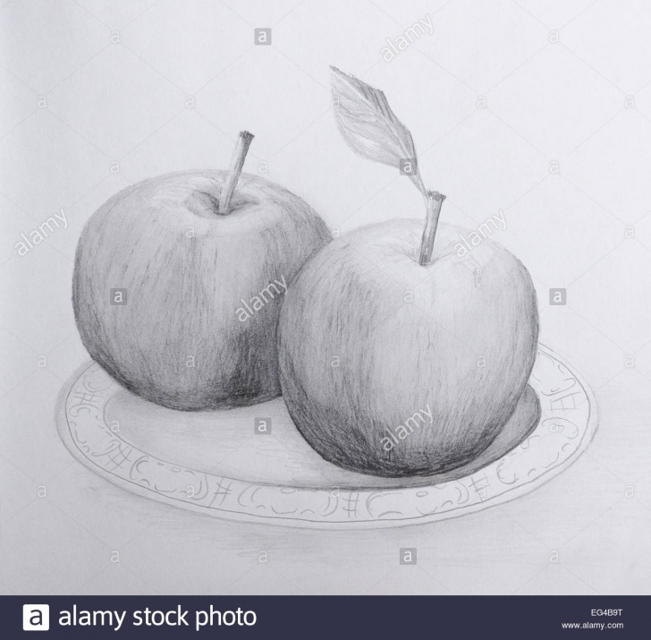 Incredible Pencil Drawing Of Apple Courses Pencil Drawing Of Two Apples On A Plate - Grayscale On Cartridge Images