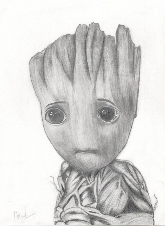 Incredible Pencil Drawing Pencil Drawing Simple Pencil Drawing Of Baby Groot Pic