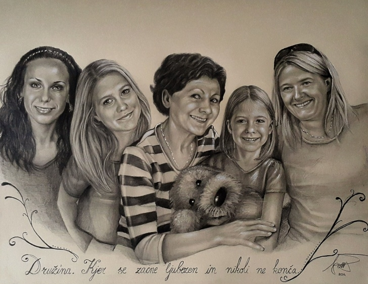 Incredible Pencil Drawings Of Happy Family Ideas A Happy Family Portrait | Portrait Commision Drawing With Pencils By Picture