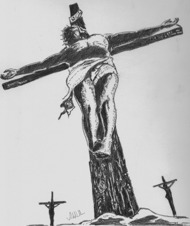 Incredible Pencil Drawings Of Jesus On The Cross Simple Jesus On Cross Pencil Drawing At Paintingvalley | Explore Photo