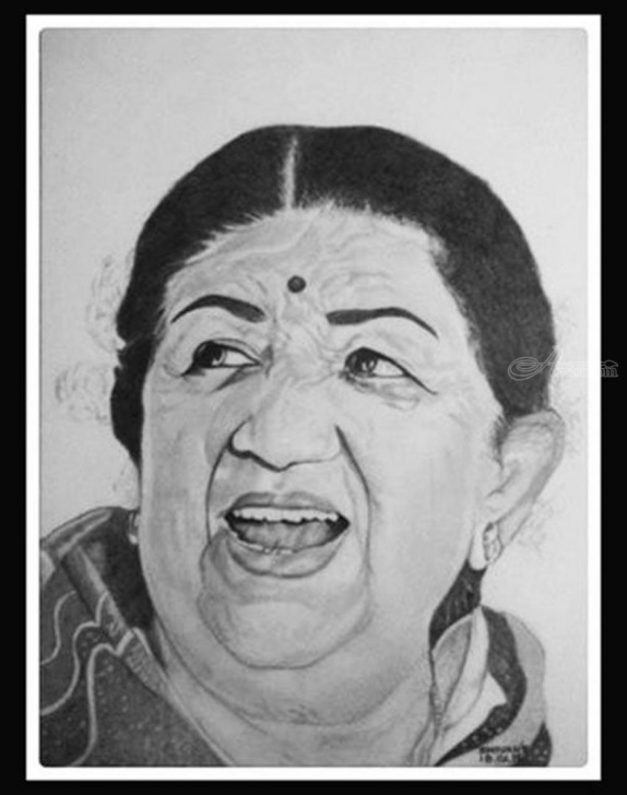 Incredible Pencil Sketch Of Famous Indian Personalities for Beginners Indian Singer Lata Mangeshkar Drawings / Sketch By Shivkumar Menon Photo