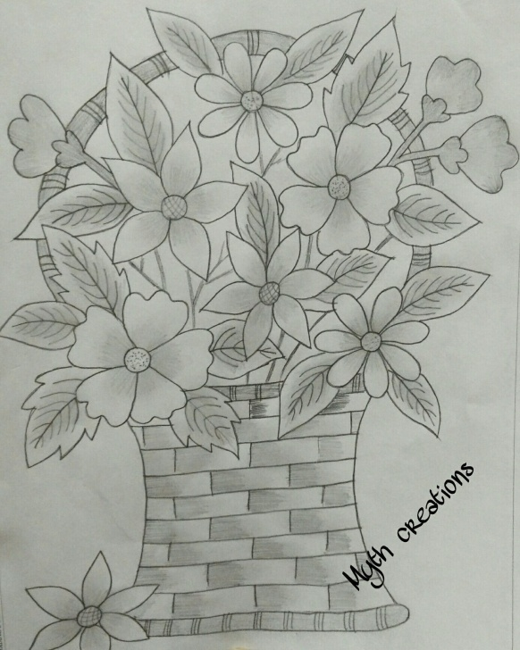 Incredible Pencil Sketch Of Flower Pot Simple 51 Unique Tattooed Flower Vase Youtube | Decoration | Flower Vases Pic