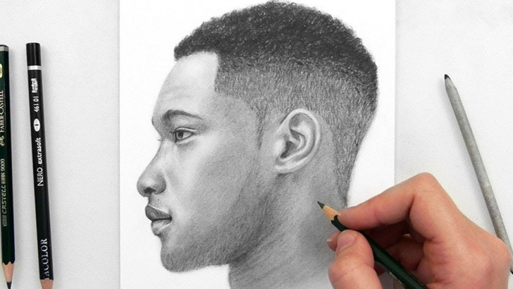 Incredible Pencil Sketch Of Man Techniques Drawing A Man Side View With Graphite Pencils Photo