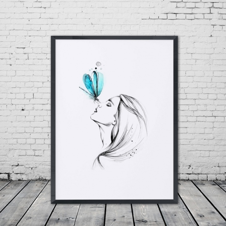 Incredible Pencil Sketch Painting Tutorials Us $5.6 |Girl With Butterfly Pencil Sketch Watercolor Painting Sweet Home  Poster Wall Art Decor Room Wall Hanging Art Pictures Gift E327-In Painting  & Photos