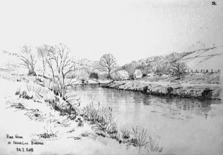Incredible River Pencil Drawing for Beginners River Pencil Drawing At Paintingvalley | Explore Collection Of Photo
